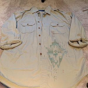 MENS khaki button up polo Ralph Lauren